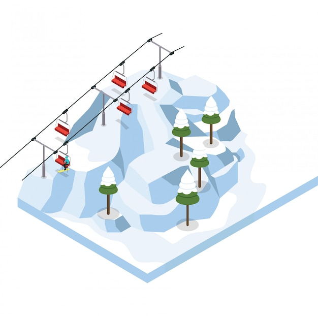 Иллюстрация изометрического горнолыжного курорта