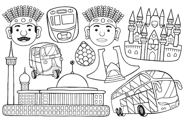 Иллюстрация городского пейзажа джакарты каракули в мультяшном стиле