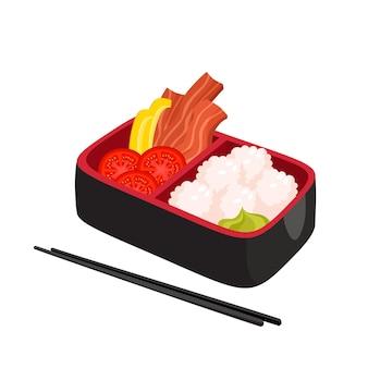 일본 도시락 상자 화이트 절연의 그림입니다. 쌀, 베이컨, 후추, 와사비, 토마토와 함께 전통적인 아시아 음식