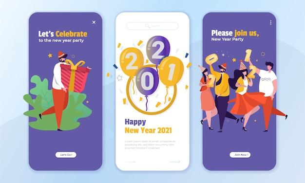 オンボード画面のコンセプトで新年のパーティーに参加するイラスト