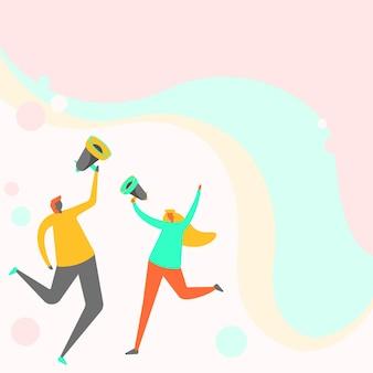 メガホンを通して考えを共有することを穏やかに飛び回るうれしそうなパートナーのイラスト。 bullhornを使用して、貢献するアイデア全体を適度にホッピングして描く幸せなカップル。