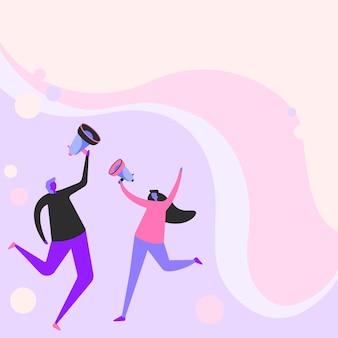 幸せなメガホンを通して考えを共有することを穏やかに飛び回る楽しいパートナーのイラスト