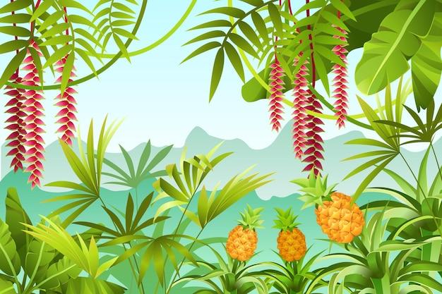 バナナの木とジャングルのイラスト。