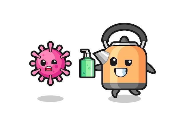 Иллюстрация персонажа-чайника, преследующего злой вирус с дезинфицирующим средством для рук, милый стильный дизайн футболки, наклейки, элемента логотипа