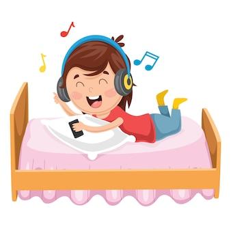 Illustration Of Kid Lying On Bed