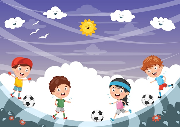 Иллюстрация мальчика, играющего в футбол