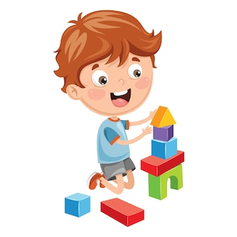Illustration Of Kid Playing With Building Blocks