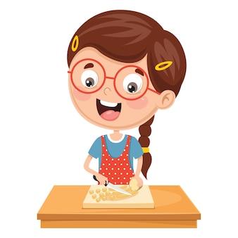 Illustration Of Kid Preparing Meal