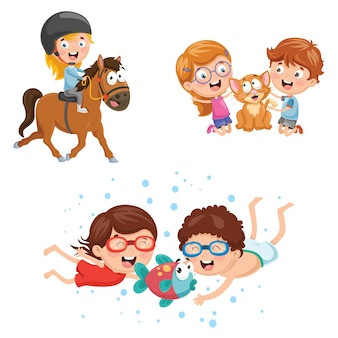Illustration Of Kids And Animals