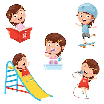 Illustration Of Kids Daily Routine Activities