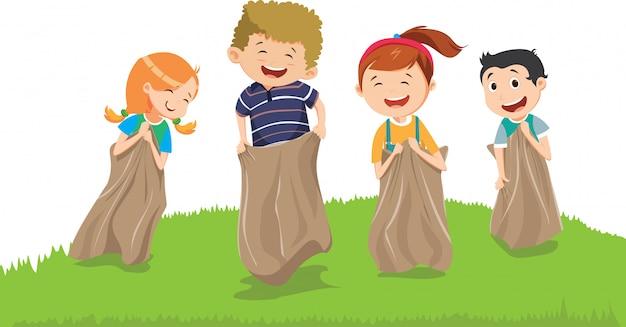 Иллюстрация детей, с удовольствием с мешками на лугу