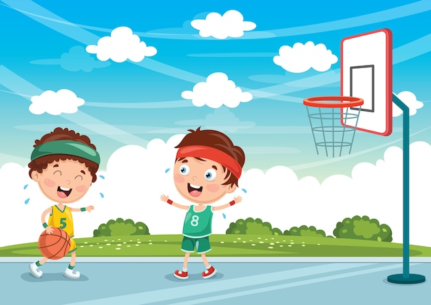 Иллюстрация детей, играющих в баскетбол