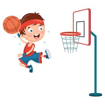 バスケットボール、遊ぶ、子供、イラスト