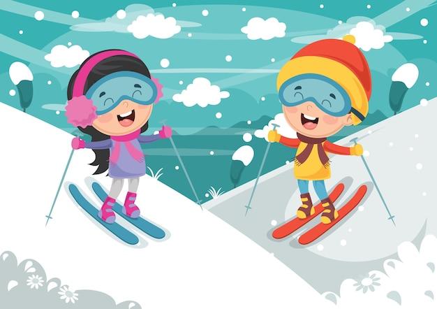 子供のスキーのイラスト
