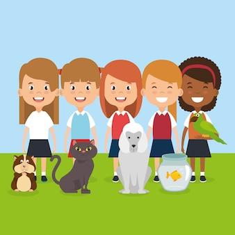 ペットのキャラクターと子供たちのイラスト