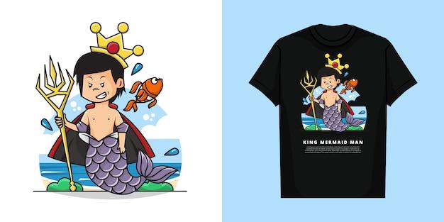 Tシャツのモックアップデザインを持つ王人魚男のイラスト