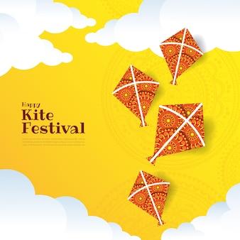 인도의 연 문자열 축제의 그림