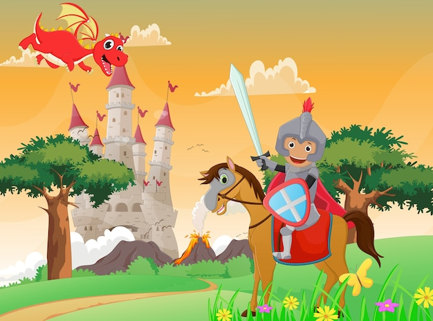 Иллюстрация рыцаря и дракона