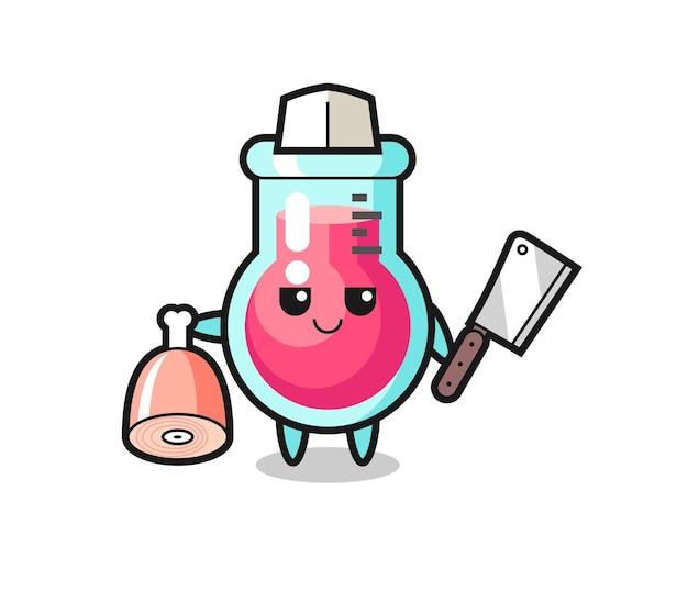Иллюстрация персонажа лабораторного стакана в виде мясника, милый стиль дизайна для футболки, наклейки, элемента логотипа