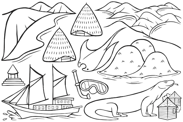 만화 스타일의 라부안 바조 낙서의 그림