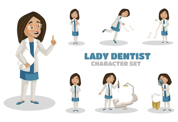 女性歯科医の文字セットのイラスト