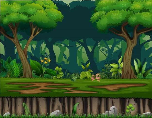 茂みの木のある風景のイラスト