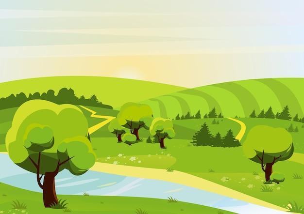 森、丘、フィールド、川、小道のある風景のイラスト。春または夏の景色。