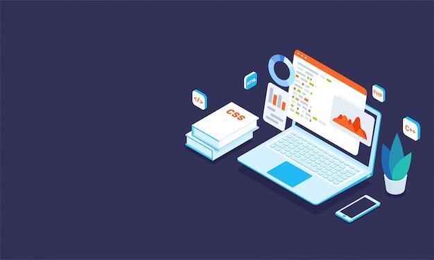 Иллюстрация ноутбука с различными программами