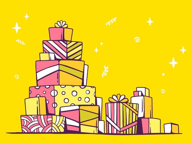 Иллюстрация большая куча розовых и желтых подарков, стоя друг на друга на светлом фоне.