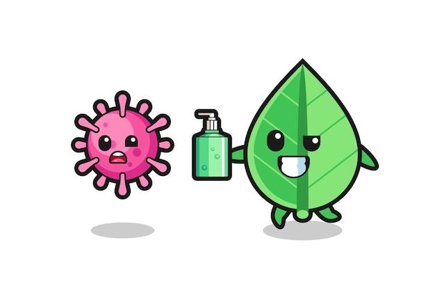 손 소독제로 사악한 바이러스를 쫓는 잎 캐릭터의 그림, 티셔츠, 스티커, 로고 요소를 위한 귀여운 스타일 디자인