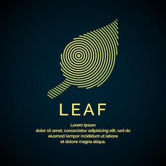 直線的なスタイルの葉のイラスト。ベクトルのロゴとサイン。