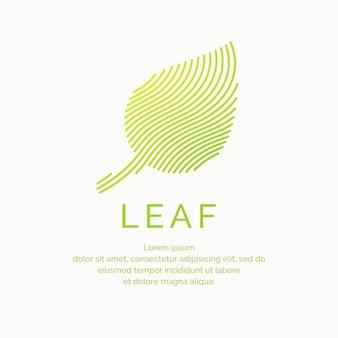 선형 스타일에 잎의 그림입니다. 벡터 로고 및 기호입니다.