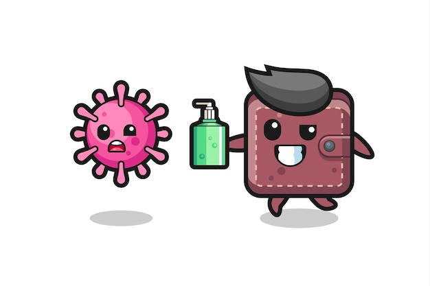 手指消毒剤で邪悪なウイルスを追いかける革の財布のキャラクターのイラスト、tシャツ、ステッカー、ロゴ要素のかわいいスタイルのデザイン