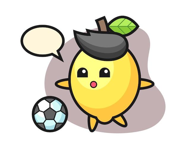 Иллюстрация лимона мультяшный играет в футбол