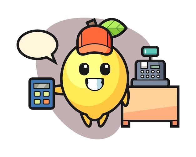 レジ係としてのレモンキャラクターのイラスト