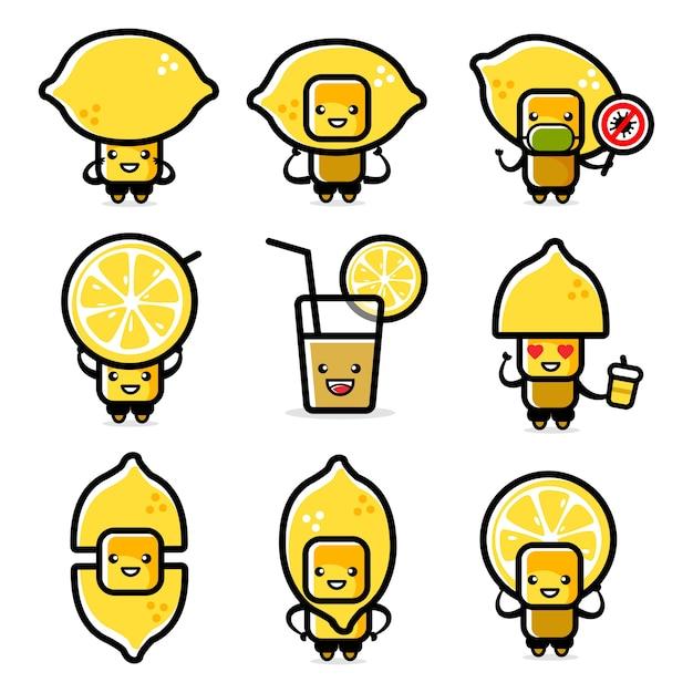 레몬 캐릭터 세트의 일러스트