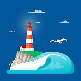 フラットスタイルの灯台のイラスト
