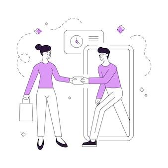 Иллюстрация линейной покупательницы-женщины с сумкой, оплачивающей курьеру-мужчине с помощью кредитной карты после своевременного получения онлайн-заказа