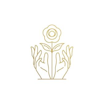성장하는 꽃을 육성하는 여성 손의 선형 스타일 로고 디자인의 그림