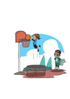 Иллюстрация маленькой девочки, играющей в баскетбол на батуте