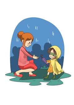 Иллюстрация маленькой девочки, делящей unbrella с молодой женщиной