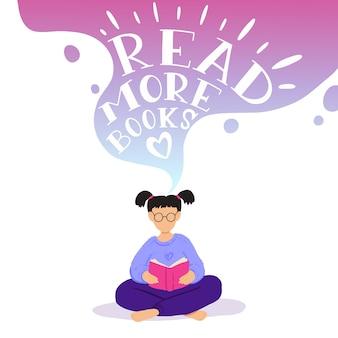 Иллюстрация маленькая девочка сидит и читает книгу, мечтает.