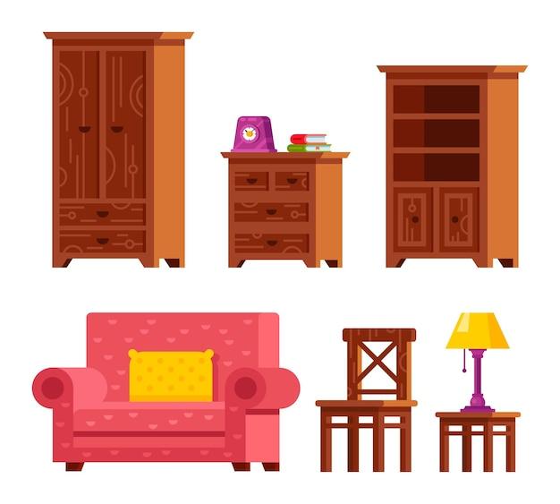 居間の家具のイラスト