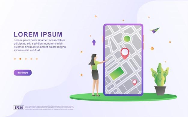 場所の概念図。女性が携帯電話を使用して場所を探しており、gpsをルートとして有効にしています。