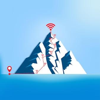ラインナップマップナビゲーションによる位置のイラスト。山の要素とのコミュニケーションを通じた抽象的な観光ルートが止まります。 5gテクノロジーのシンボル。インターネットエリア、デジタル、wifi信号 Premiumベクター