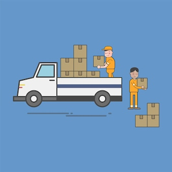 Illustration of logistics service vector set