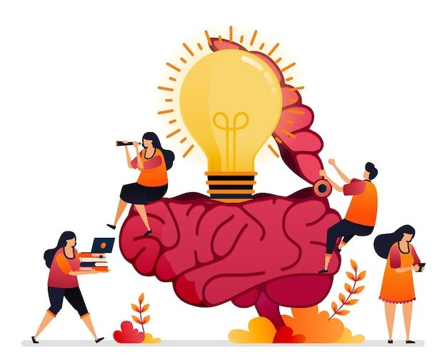 アイデア、解決策を探し、創造的な心を開くイラスト。インスピレーションの頭脳