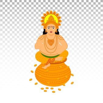 Иллюстрация лорда кубера для празднования индийского фестиваля happy dhanteras и diwali premium векторы