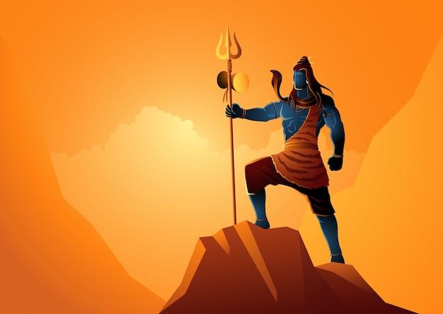 岩の上に立っているシヴァ神、ヒンドゥー教のインドの神のイラスト
