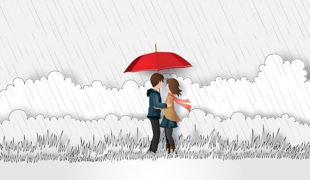 Иллюстрация любви и дождливого дня, влюбленные обнимаются на лугу с дождем. бумажное искусство и стиль рисования рук.